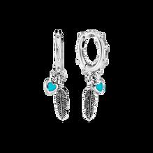 Turquoise Hearts & Feather Hoop Earrings