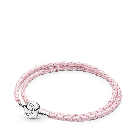 Pink Braided Double-Leather Charm Bracelet, Sterling silver, Leather, Pink - PANDORA - #590745CMP-D