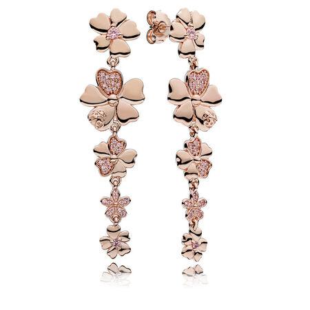 Pendants d'oreilles Pré de fleurs sauvages, PANDORARoseMC et cristaux rosés
