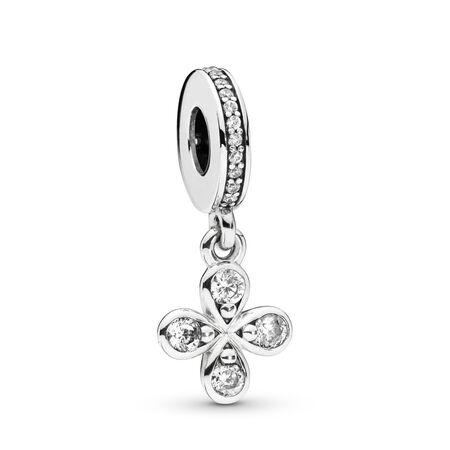 Charm-pendentif Fleur à quatre pétales, Argent sterling, Aucun autre matériel, Aucune couleur, Zircon cubique - PANDORA - #797969CZ