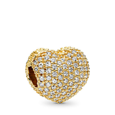 Pave Open My Heart Clip, PANDORA Shine™ & Clear CZ, 18ct gold-plated sterling silver, Cubic Zirconia - PANDORA - #767156CZ