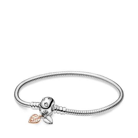 Pandora Moments Leaves Clasp Snake Chain Bracelet