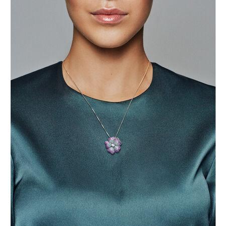 Glorious Bloom Pendant Brooch, Multi-coloured CZ