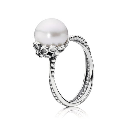 Silver ring, white freshwater cultured pearl, cubic zirconia