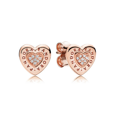 PANDORA Signature Heart Stud Earrings, PANDORA Rose™ & Clear CZ