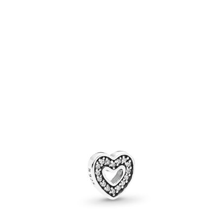 Captured Heart Petite, Clear CZ, Sterling silver, Cubic Zirconia - PANDORA - #792163CZ