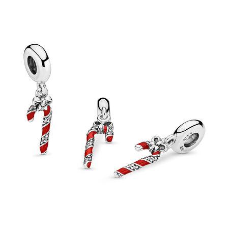 Charm pendentif Canne en bonbon scintillante, émail rouge baie et cz incolore