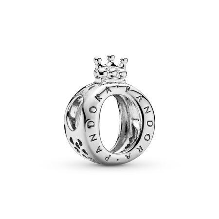 Charm en forme de «O» couronné PANDORA, Argent sterling, Aucun autre matériel, Aucune couleur, Aucune pierre - PANDORA - #797401