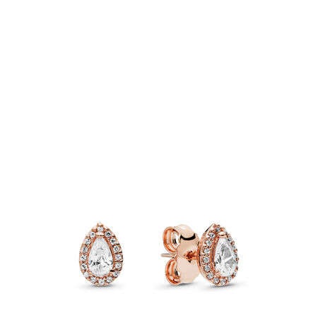 Radiant Teardrops Earrings, PANDORA Rose™ & Clear CZ