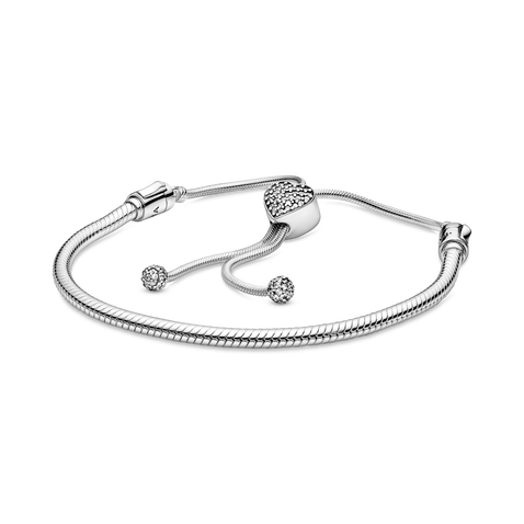 Pandora Moments Pavé Heart Clasp Snake Chain Slider Bracelet