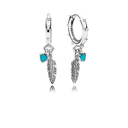 Boucles d'oreille pendantes Plumes spirituelles, émail turquoise gros