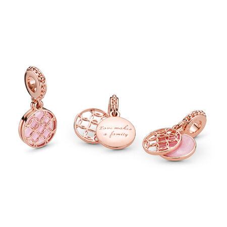Charm pendentif Motif d'amour, PANDORA Rose et émail rose
