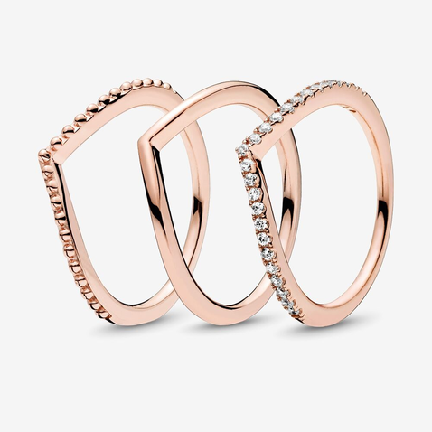 Superposition de bagues en chevron Pandora Rose