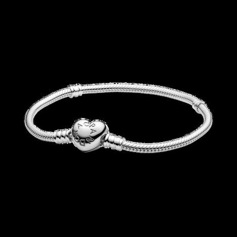 Bracelet à fermoir en cœur et à chaîne serpentine PandoraMoments