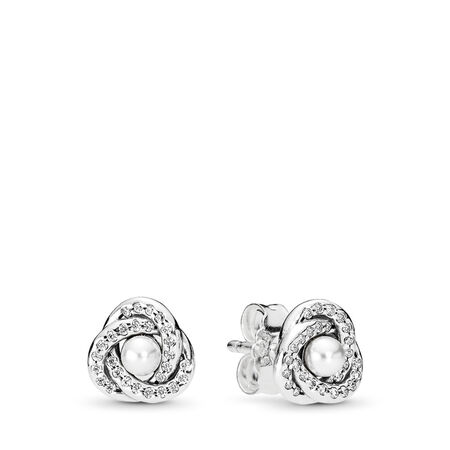 Luminous Love Knots, White Crystal Pearl & Clear CZ, Sterling silver, White, Mixed stones - PANDORA - #290740WCP