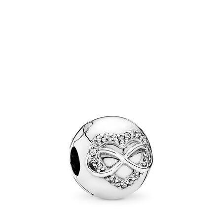 Infinity Heart, Clear CZ, Sterling silver, Cubic Zirconia - PANDORA - #791947CZ