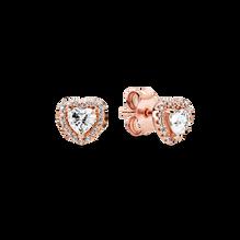 Sparkling Elevated Heart Stud Earrings