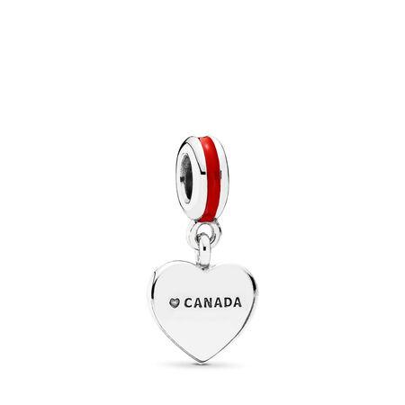 Canada Heart Flag, Red & White Enamel