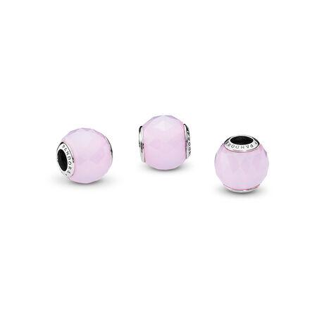 Facettes géométriques, cristal rose opalescent