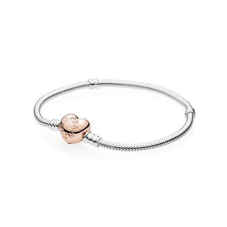 Bracelet en argent sterling avec fermoir en cœur PANDORA Rose