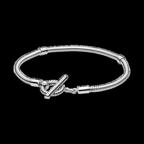 Bracelet à chaîne serpentine et à barre en T PandoraMoments