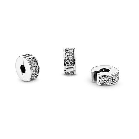 Clear Pavé Clip Charm, Sterling silver, Silicone, Cubic Zirconia - PANDORA - #791817CZ