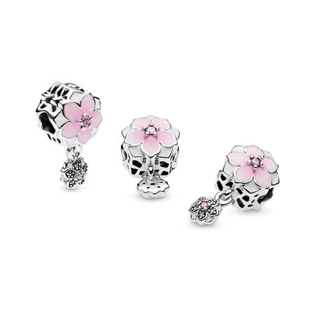 Magnolia Bloom, Pale Cerise Enamel, Pink & Clear CZ, Sterling silver, Enamel, Pink, Cubic Zirconia - PANDORA - #792077PCZ