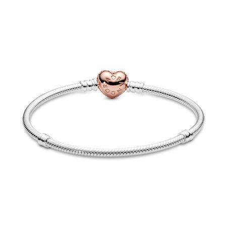 Sterling Silver Charm Bracelet with PANDORA Rose™ Pavé Heart Clasp