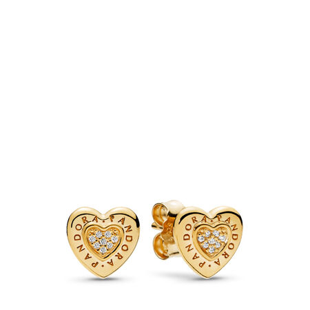 PANDORA Signature Heart Stud Earrings, PANDORA Shine™ & Clear CZ, 18ct gold-plated sterling silver, Cubic Zirconia - PANDORA - #267382CZ