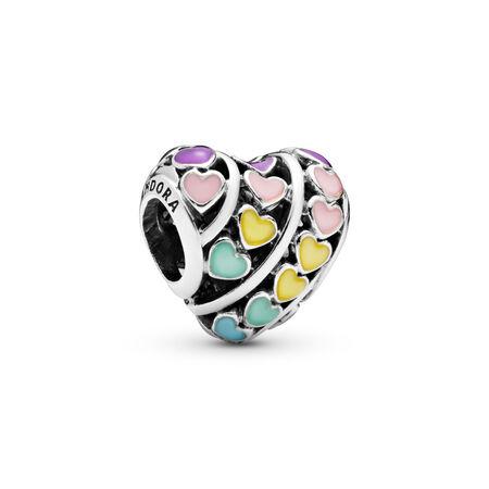 Breloque cœurs arc-en-ciel, Argent sterling, émail, Bleu, Aucune pierre - PANDORA - #797019ENMX