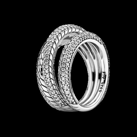 Bague à motif de chaîne serpentine et à pavé composée de trois anneaux