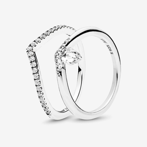Shimmering Classic Wish Ring Stack