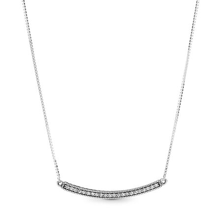 Hearts of PANDORA Bar Necklace, Clear CZ
