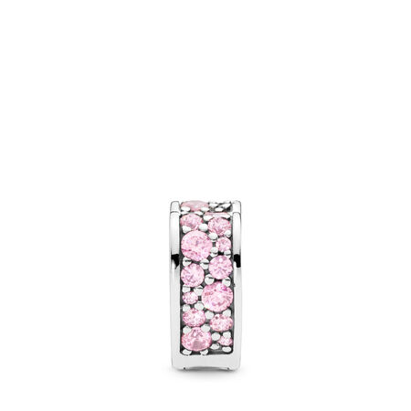 Pink Arcs of Love Clip, Pink CZ, Sterling silver, Silicone, Pink, Cubic Zirconia - PANDORA - #797020PCZ
