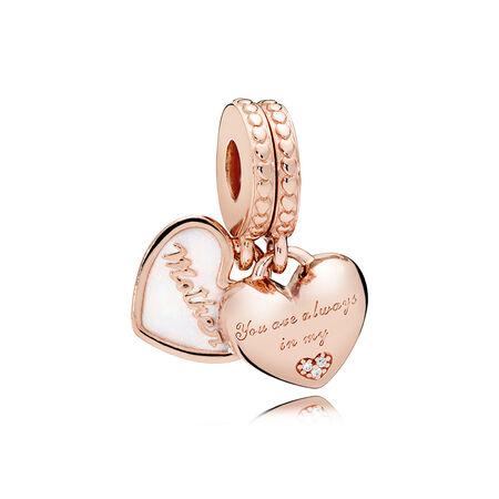 Charm pendentif Cœurs de mère et de fille, PANDORA Rose, émail argenté, cz incolore