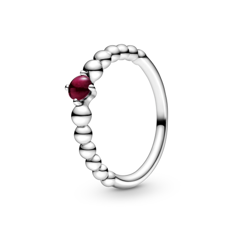 January Dark Red Beaded Ring