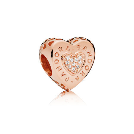 PANDORA Signature Heart Charm, PANDORA Rose™ & Clear CZ