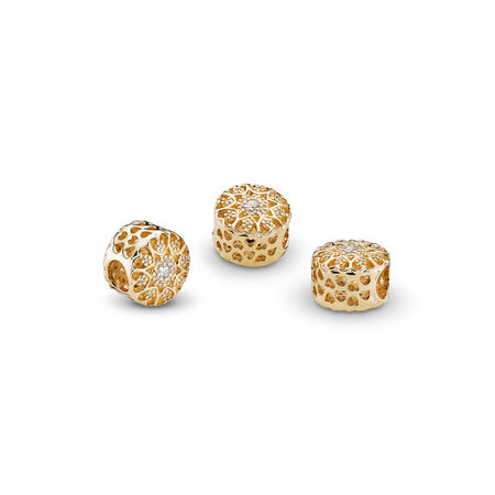 Hearts of Gold, Clear CZ & 14K Gold, Yellow Gold 14 k, Cubic Zirconia - PANDORA - #750841CZ