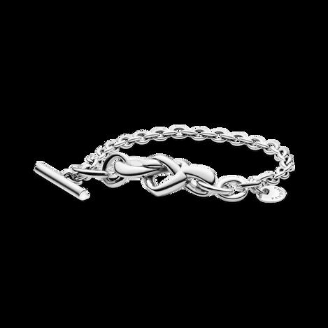 Bracelet à barre en T Cœur noué