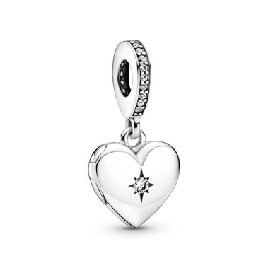 Charm-pendentif Médaillon ouvrable en forme de cœur
