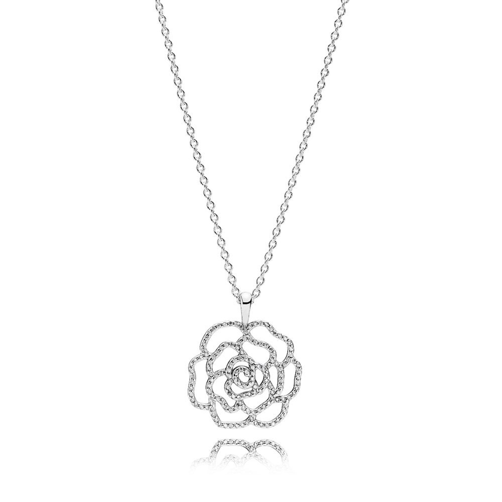 Shimmering rose pendant necklace pandora jewelry us shimmering rose pendant necklace clear cz mozeypictures Images