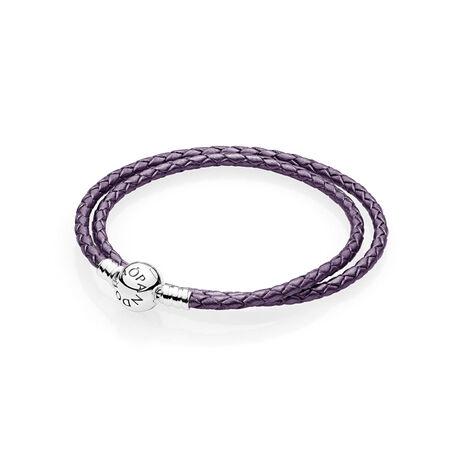 Purple Braided Double-Leather Charm Bracelet
