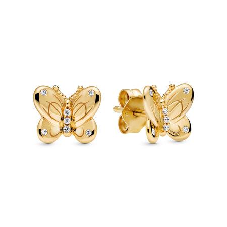 Clousd'oreilles Papillons décoratifs, Or Plaqué 18ct, Aucun autre matériel, Aucune couleur, Zircon cubique - PANDORA - #267921CZ