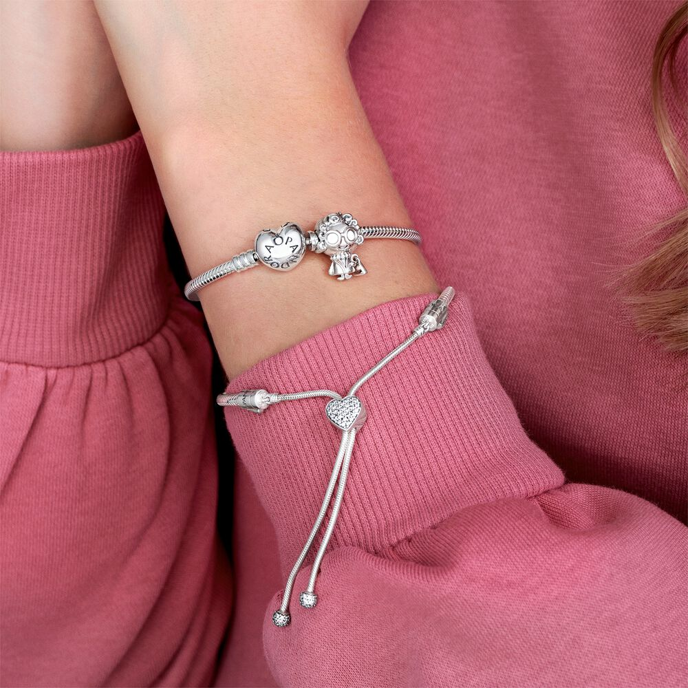 Silver Charm Bracelet with Heart Clasp | Sterling silver | Pandora ...