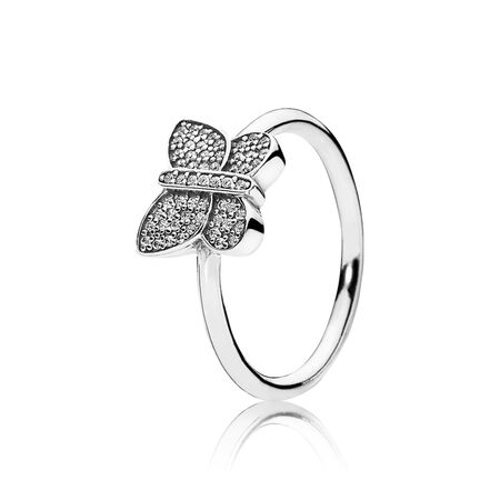 Sparkling Butterfly Ring, Clear CZ, Sterling silver, Cubic Zirconia - PANDORA - #190938CZ