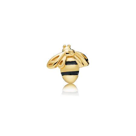 Queen Bee Petite Charm, PANDORA Shine™ & Black Enamel