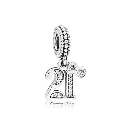 21 Years of Love Dangle Charm, Clear CZ