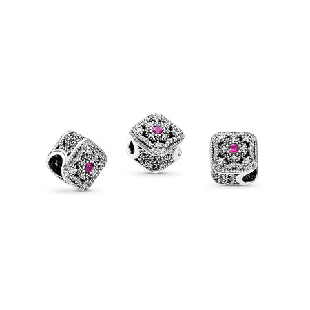 Fairytale Treasure, Cerise Crystal & Clear CZ, Sterling silver, Pink, Mixed stones - PANDORA - #792013NCC