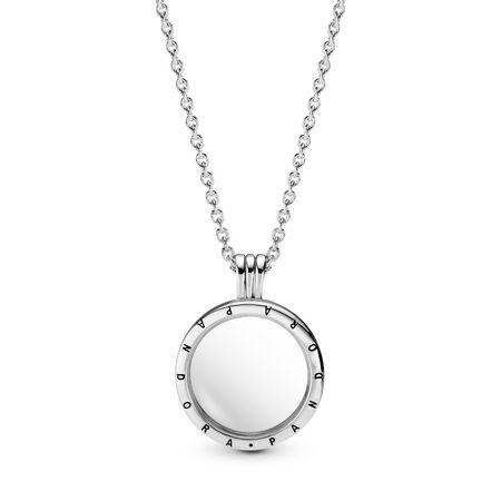 Pandora Floating Lockets Logo Necklace, Sterling silver, Glass - PANDORA - #590529