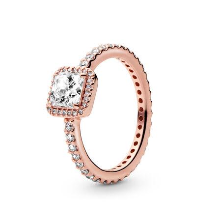 Square Sparkle Ring, PANDORA Rose, Cubic Zirconia - PANDORA - #180947CZ